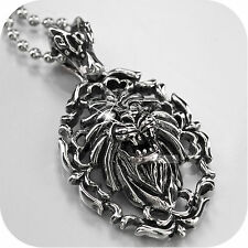 Silver lion made with swarovski crystal pendant stainless steel chain necklace