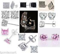 Silver Clear Black Ear Studs Earrings Diamond Cut Crystal Gem Pair 4mm 6mm 8mm