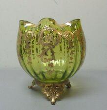 UNUSUAL ANTIQUE MOSER ART GLASS ENAMEL DECORATED LARGE ROSE BOWL, ORMOLU BASE