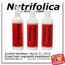3 PACK NUTRIFOLICA TREATMENT SHAMPOO CONDITIONER hair loss natural no sulfates