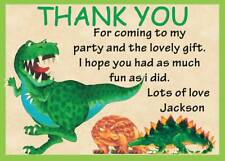 PERSONALISED CHILDRENS DINOSAURS BIRTHDAY THANK YOU NOTES CARDS BOYS   X 12