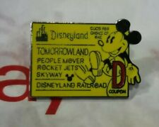 Disneyland D Coupon Ticket TomorrowLand Railroad Skyway Rare Official Mickey Pin