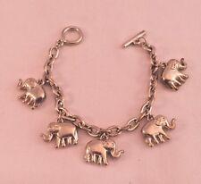 PUFFY ELEPHANT CHARM BRACELET Silver Toned Metal TOGGLE CLASP 5 Elephants  #63