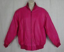 Vtg Avanti Fino Jacket ~ Lipstick Pink Leather Varsity Bomber Jacket ~Rib Collar
