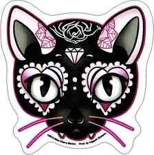 15801 Pink & Black Sugar Skull Cat Cherry Martini Kitty Die Cut Sticker / Decal