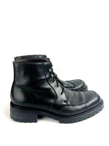 Vintage Gianni Versace Men's Black Military Leather Lace Up Boots Sz 10 A