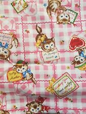 Pinkkawaii gingham kitty cats kitsch red hearts spotty fabric fat quarter cotton