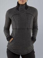 NICE🍀Lululemon 6 Base Runner 1/2 Zip - Heathered Herringbone Black Pullover