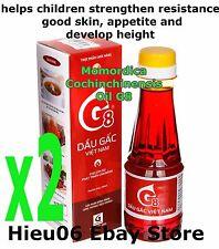 2 x 185ml Gac Oil Momordica Cochinchinensis VINAGA G8 children early eating time