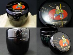 Japan Lacquer Wooden Tea caddy A fairy tale The Inch-High Samurai Natsume (301)