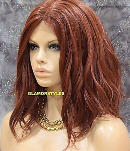 Lace Front Full Wig Bob Wavy Layered Auburn Red Heat Ok Hair Piece Extensions