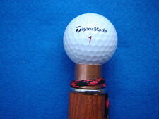 real GOLF-BALL CANE/walking stick Gun-Stock oak/copper TaylorMade #1~useful gift