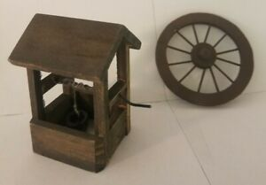 Vintage Miniature Doll House Wood Well and Wagon Wheel