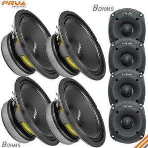 "4x PRV 6"" Midbass Speakers 6MB200 v2 200W + 4x Tweeters TW350Ti 120W PRO Audio"