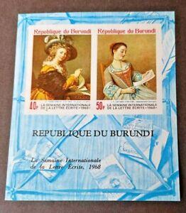 Burundi 1968 International Letter Writing Week Sheetlet Mint Never Hinged
