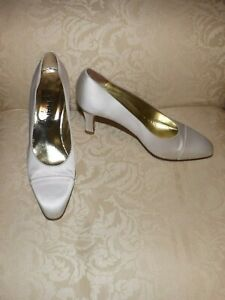 Chanel  Wedding Satin Pump Classic Shoes Ivory 36