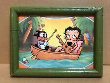 Framed 1977 Betty Boop & Bimbo Greeting Card - Tiki Bamboo Style Wood Frame