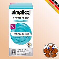 simplicol Textilfarbe intensiv KARIBIK-TÜRKIS All-in Wäsche Färben Batiken