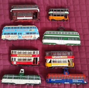 TRAMS  8 x  Trams Unboxed Corgi Used. Blackpool,Glasgow,Paisley.