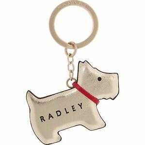 Radley London Go Walkies Pyrite Leather Gold Dog Keyring Bag Charm Gift New