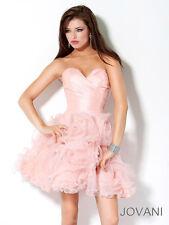 Jovani Peach Strapless Princess Mini Ball Gown Prom Dress Sz 14 NWT