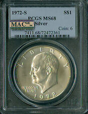 1972-S EISENHOWER DOLLAR PCGS MAC MS68 PQ 2ND FINEST REGISTRY SPOTLESS *
