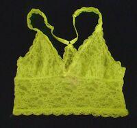 Nwt Victorias Secret Floral Lace Long Line Yellow Racerback Bralette Bra Medium