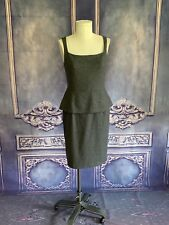 "Banana Republic Gray Flannel Sheath Dress w Peplum ""Skirt"" SZ 10 Wool Sq. Neck"