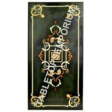 4'x2' Black Marble Dining Hallway Table Top Inlay Design Outdoor Home Decor E595