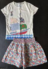 NWT Girls 7-8 MINI BODEN Pirate Ship Appliqué Tee & Floral Skirt Set VHTF