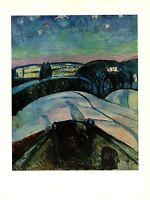 """1970 Vintage MUNCH """"STARRY NIGHT"""" #2 COLOR offset Lithograph"""