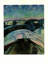 "1970 Vintage MUNCH ""STARRY NIGHT"" #2 COLOR offset Lithograph"