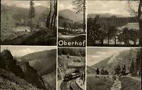 Oberhof Thüringen DDR s/w Mehrbild AK 1955 Panorama Waldpartien Zug Tunnel u.a