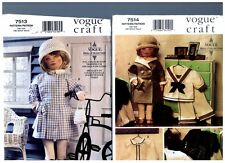 """VOGUE 7514 & 7513 PATTERNS Doll 1930s Clothes Coat Hat Dress 18"""" American Girl"""