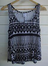 Now Women's Sleeveless Black & White Singlet Top - Size 12