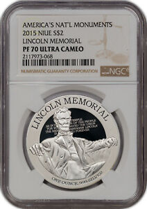 2015 AMERICA'S NAT'L MONUMENTS NIUE S$2 LINCOLN MEMORIAL NGC PF 70 UC FINEST.