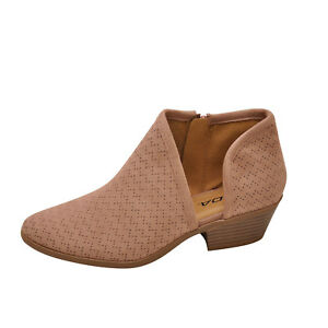 Soda RISK-S Dark Blush Women's Cut Out Perforated Ankle Booties