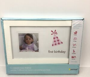 """Pearhead First Birthday Frame, Girl 2 1/4"""" x 2 1/4"""" Baby Picture Frame Gift"""