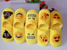 Yellow Winter Emoji Slippers Women Men Xmas Cartoon Plush Home Indoor Slippers