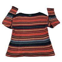 Lauren Ralph Lauren Womens Southwest Striped Cotton Linen Wool Sweater Sz L