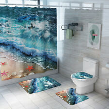 Bathroom Shower Curtain Sea and Beach Scenery Toilet Polyester Cover Mat Set