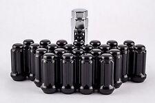"""24 Piece Set Spline Lug Nuts 1.9"""" Black 14mm x 1.5 Lug Nuts with Key W1014STB"""