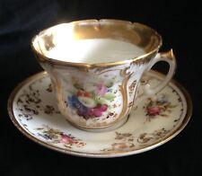 Old Paris Cup & Saucer Handpainted Flowers
