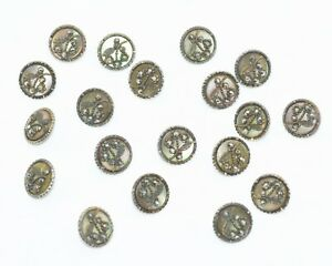 """20 ATQ BUTTONS w/ RIVITED STEEL INSETTING MOTHER of PEARL 9/16"""" Matching! Estate"""