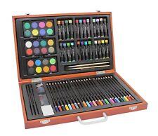 78-tlg. KÜNSTLER-Set MALSET im Holzkoffer: Stifte, Wasserfarben, Ölpastell usw.