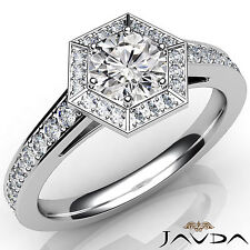 Hexagon Pave Set Round Diamond Engagement Ring GIA Color E VS1 Platinum 1.22Ct