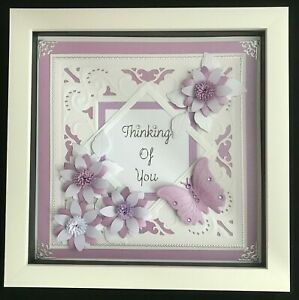 3D Handmade Thinking Of You Framed Picture Gift Lilac White Diamante Butterfly