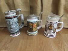 3 Vintage Ceramic Collectible German and Brazil Lidded Beer Steins Lot #2508