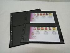 A28 TACC Plastic Stock Pages, BLACK, Extra Wide for FDC PMG 2-way division
