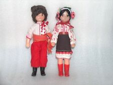 VINTAGE PAIR OF DOLLS-BOY AND GIRL IN TRADITIONAL FOLK COSTUMES,USSR-Pobeda Kiev